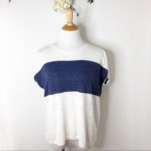 J.Crew Factory Linen Blend Striped Sweater T-Shirt